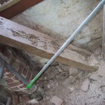 Some of the old rotted floor joists.