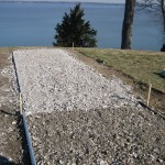 Laying the river lawn path oyster shells 2005.
