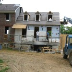 Frame addition, siding attached.