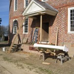 Land side porch going up.