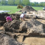 Uncovering of slave quarters near riding ring.