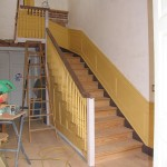 Main hall stairs and paneling installed and painted 2008.