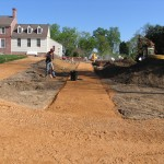 Pea gravel paths being laid 2008.