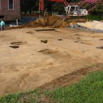River side lawn graded to reveal archaeological features.