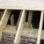 Adding sister joists to old rotted ones.