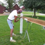 Building house picket fence.
