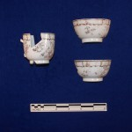 Matching porcelain teabowl and coffee cup.