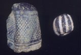 Thimble and gooseberry bead found in the South field at Mount Pleasant.